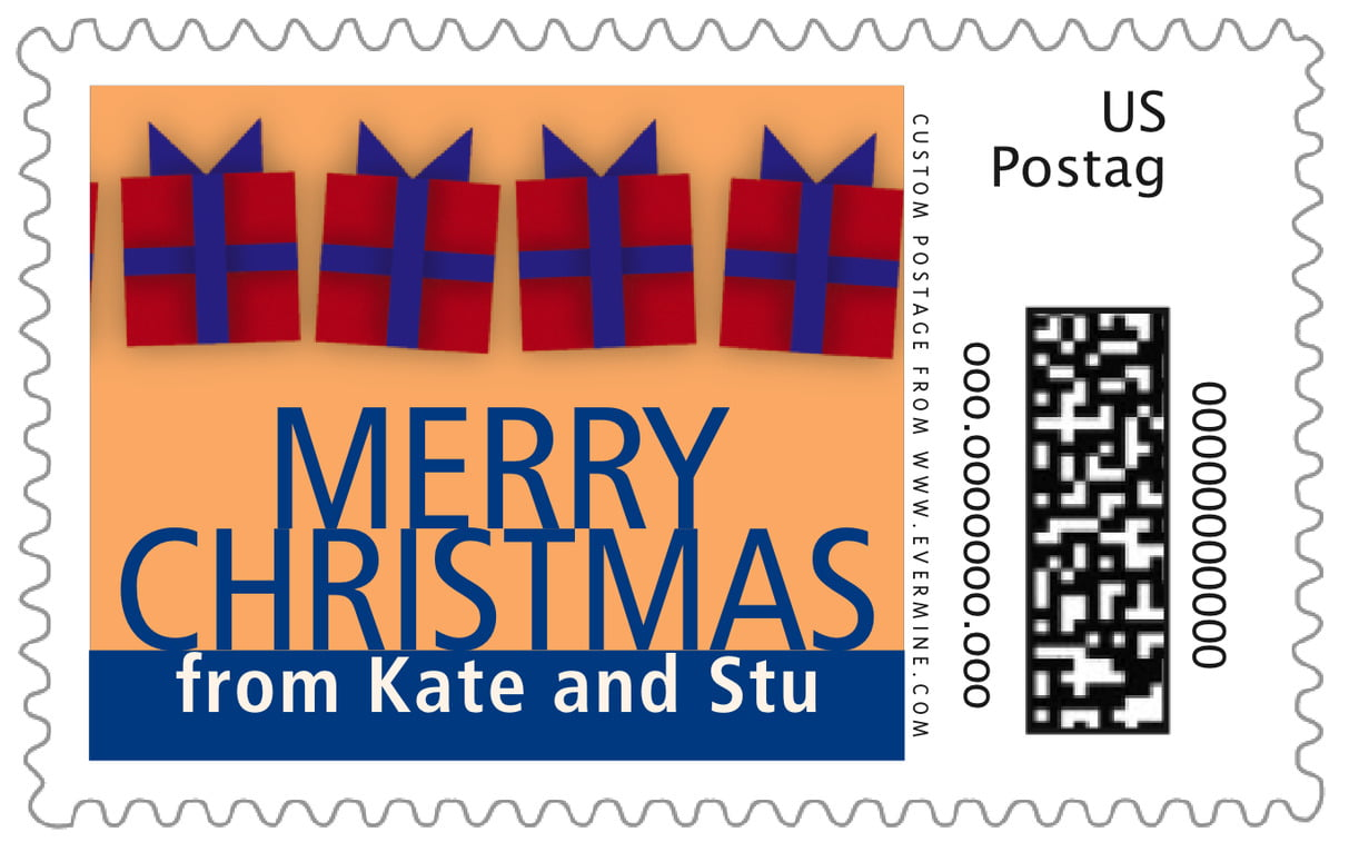 custom large postage stamps - red & blue - presents (set of 20)