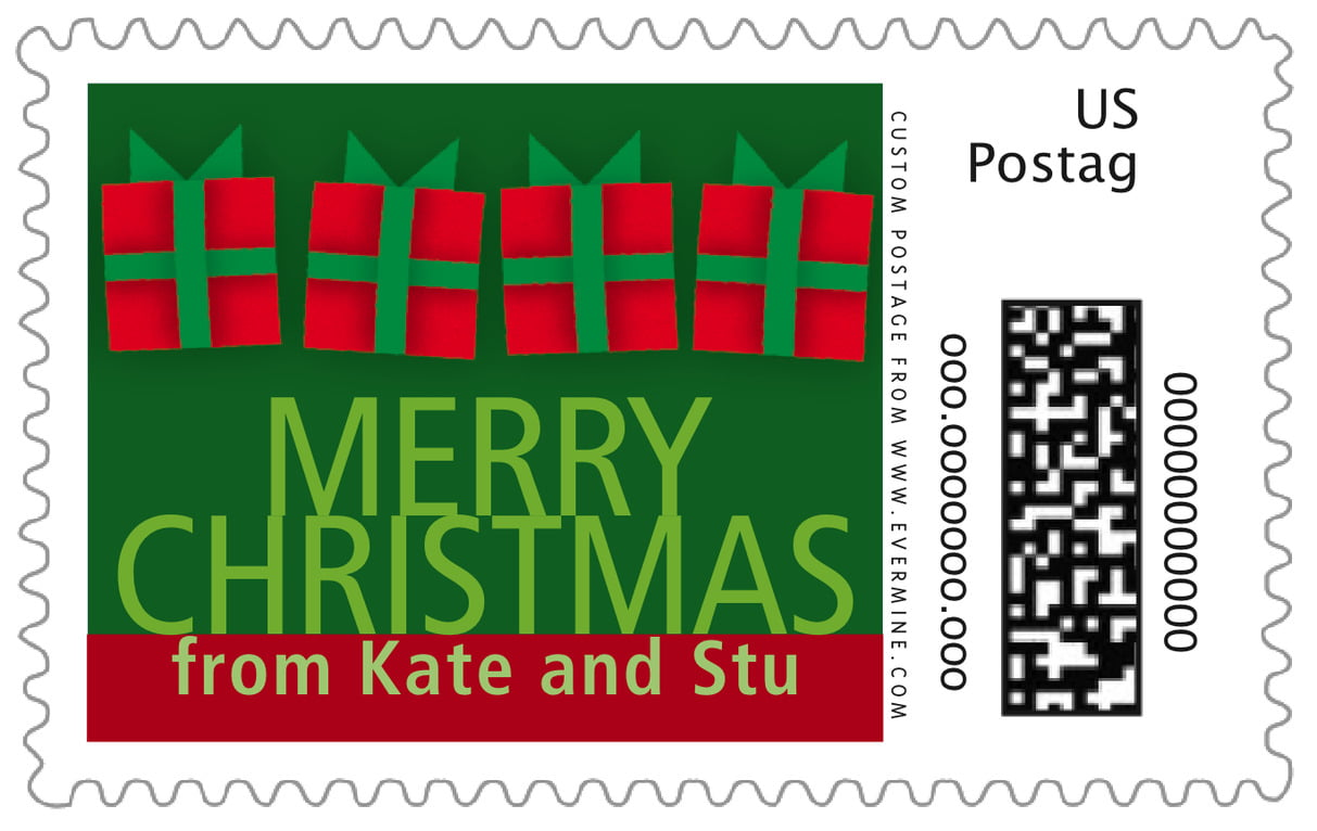 custom large postage stamps - green - presents (set of 20)