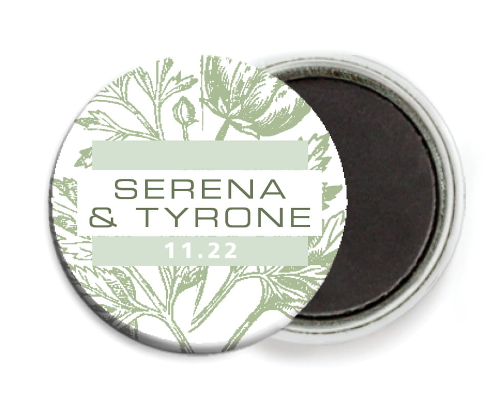 custom button magnets - sage - poppy (set of 6)