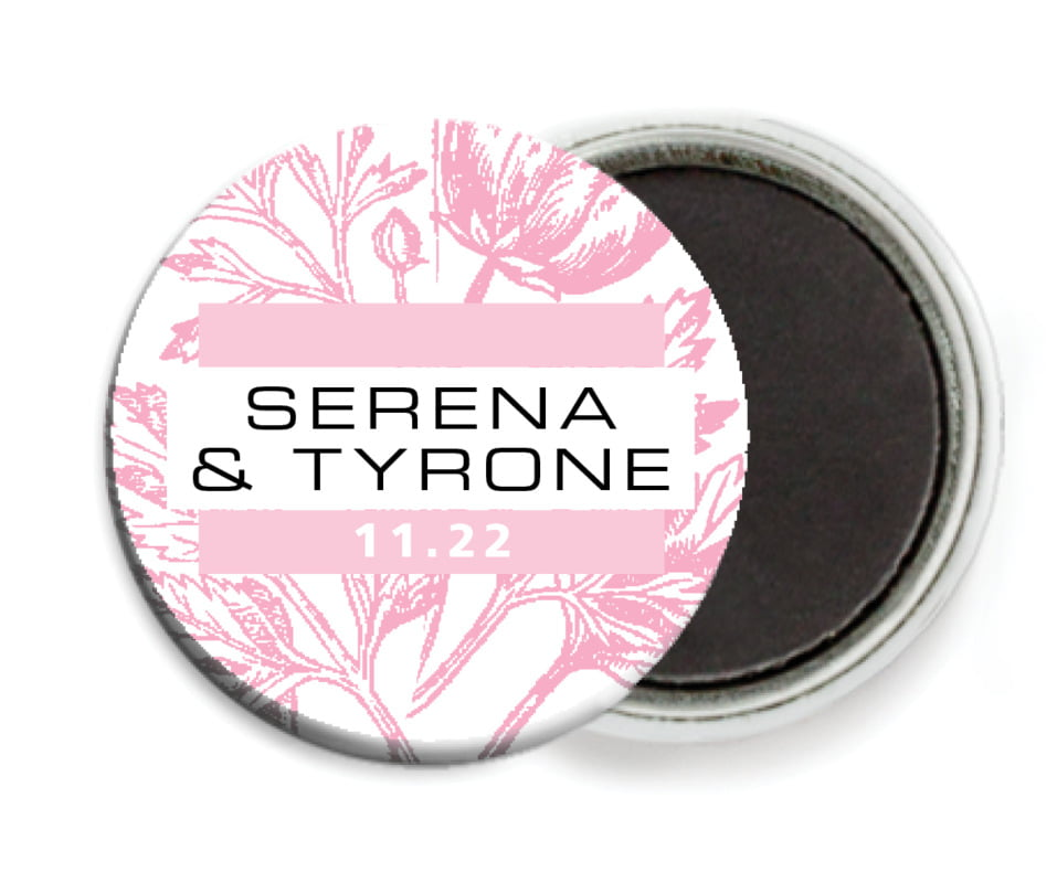 custom button magnets - pale pink - poppy (set of 6)