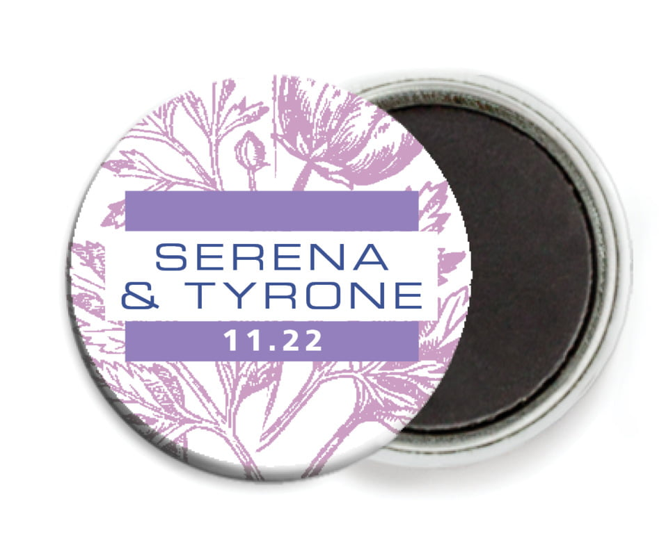custom button magnets - lilac - poppy (set of 6)