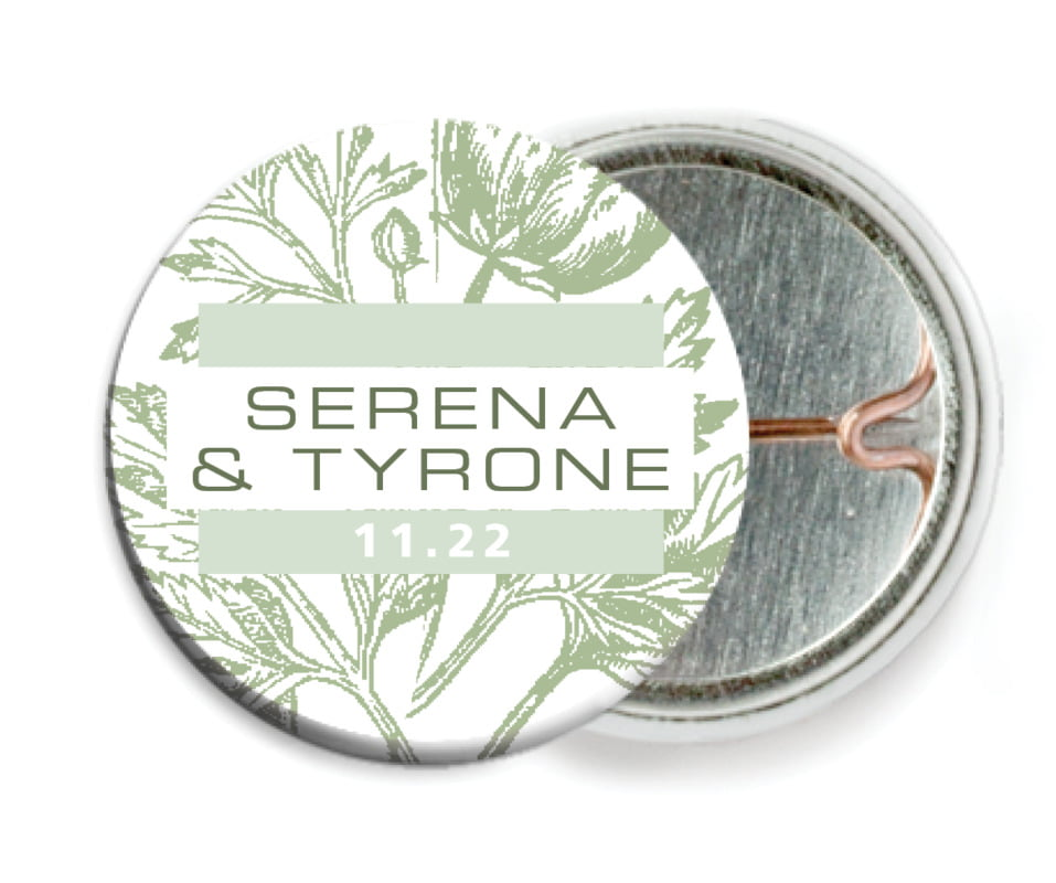 custom pin back buttons - sage - poppy (set of 6)