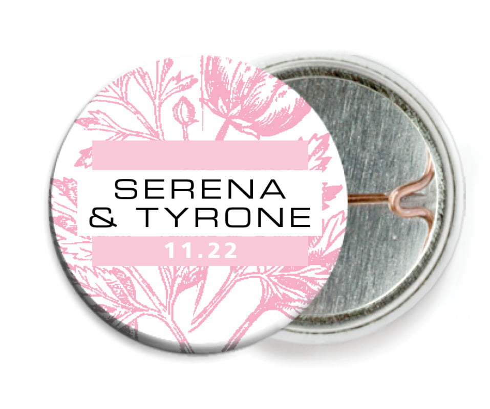 custom pin back buttons - pale pink - poppy (set of 6)