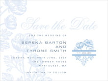 custom save-the-date cards - blue - poppy (set of 10)