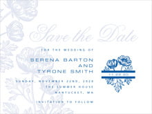 custom save-the-date cards - deep blue - poppy (set of 10)
