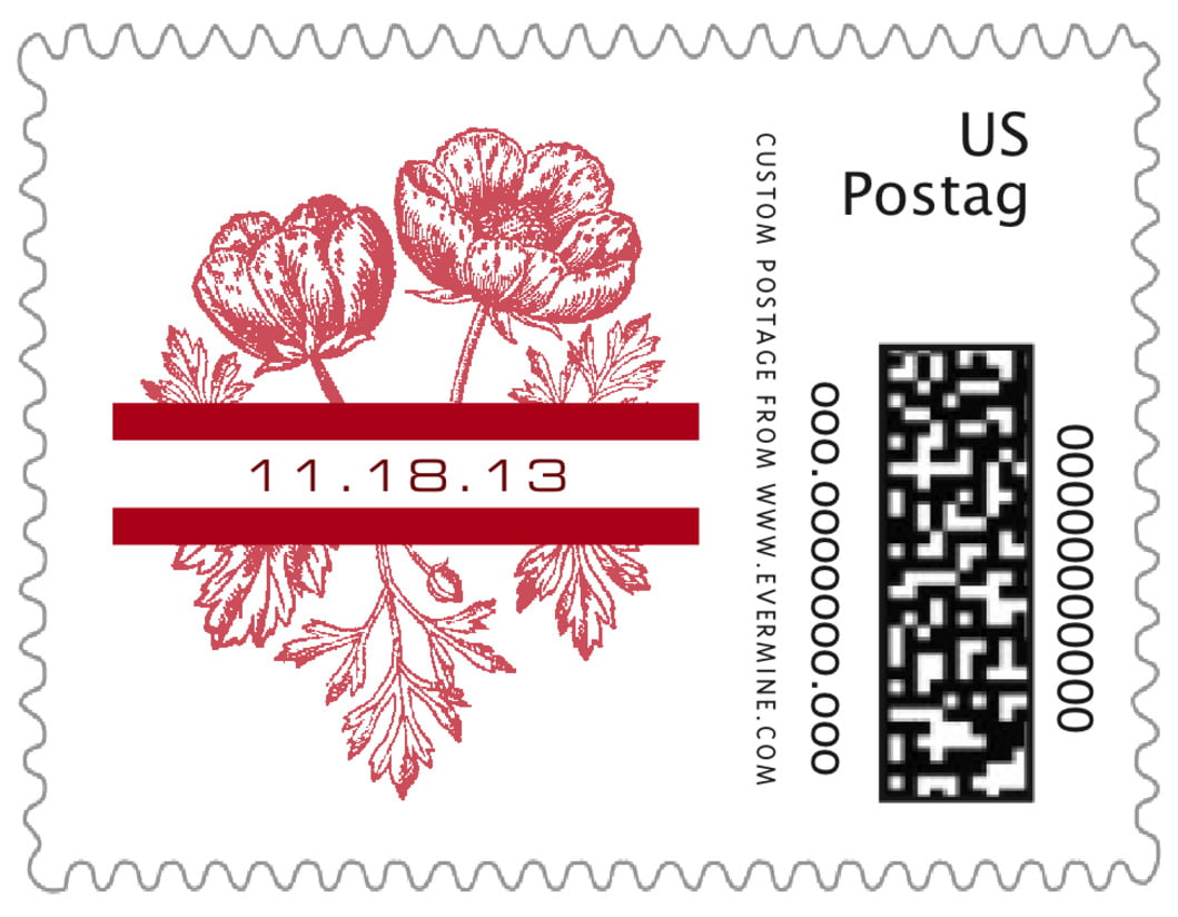 small custom postage stamps - deep red - poppy (set of 20)