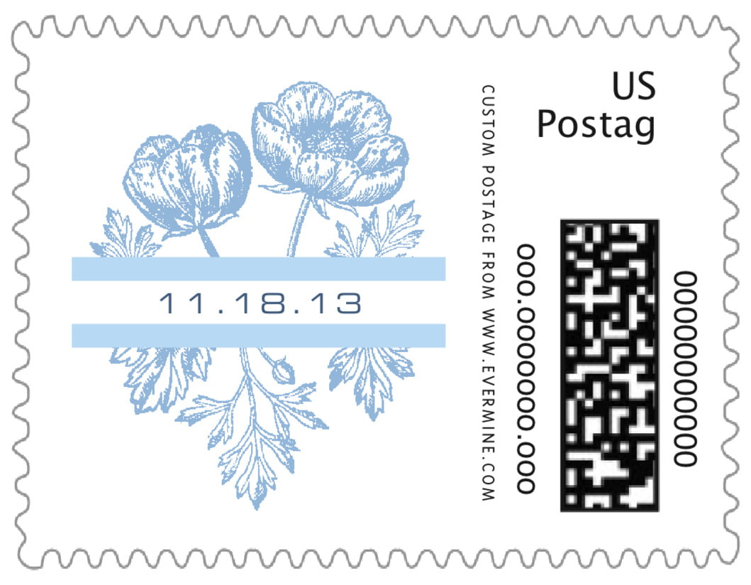 small custom postage stamps - blue - poppy (set of 20)