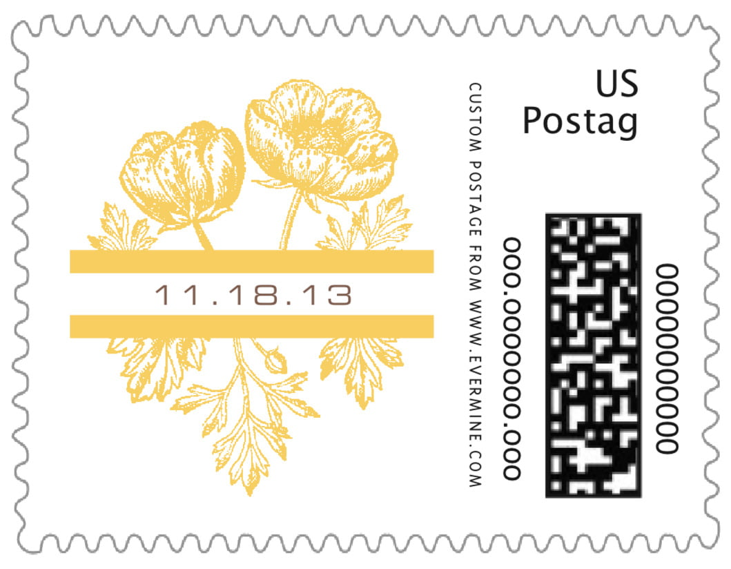 small custom postage stamps - sunburst - poppy (set of 20)