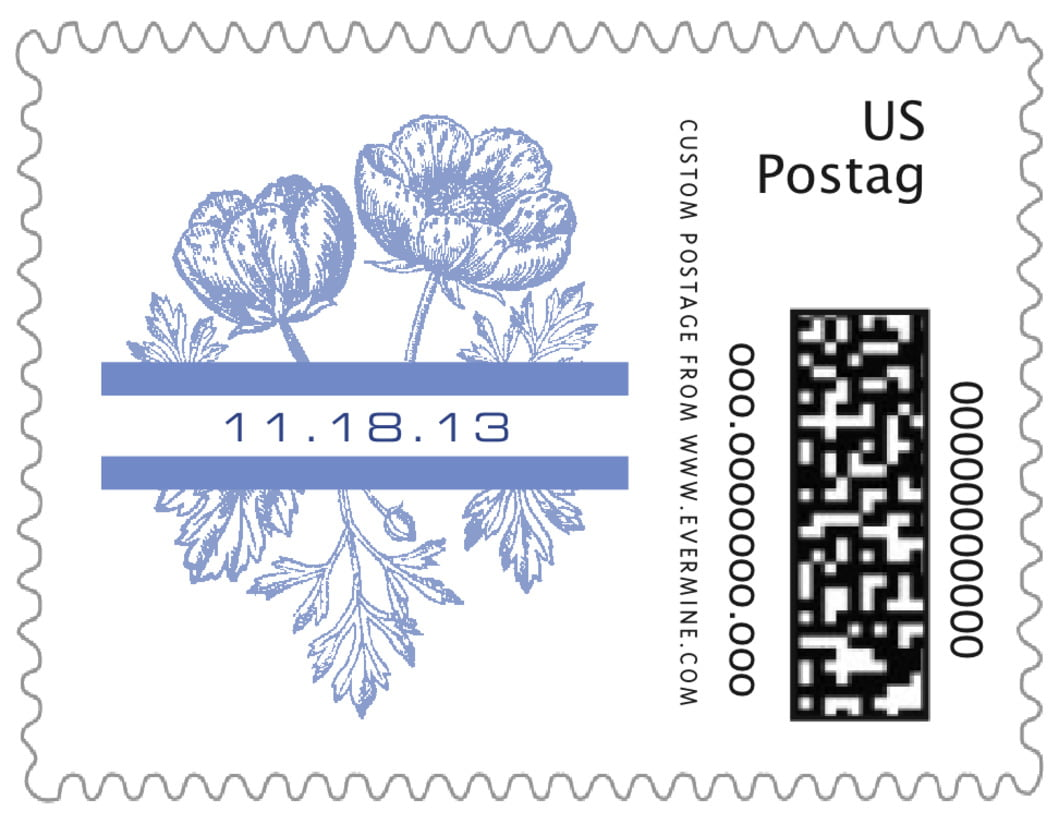 small custom postage stamps - periwinkle - poppy (set of 20)