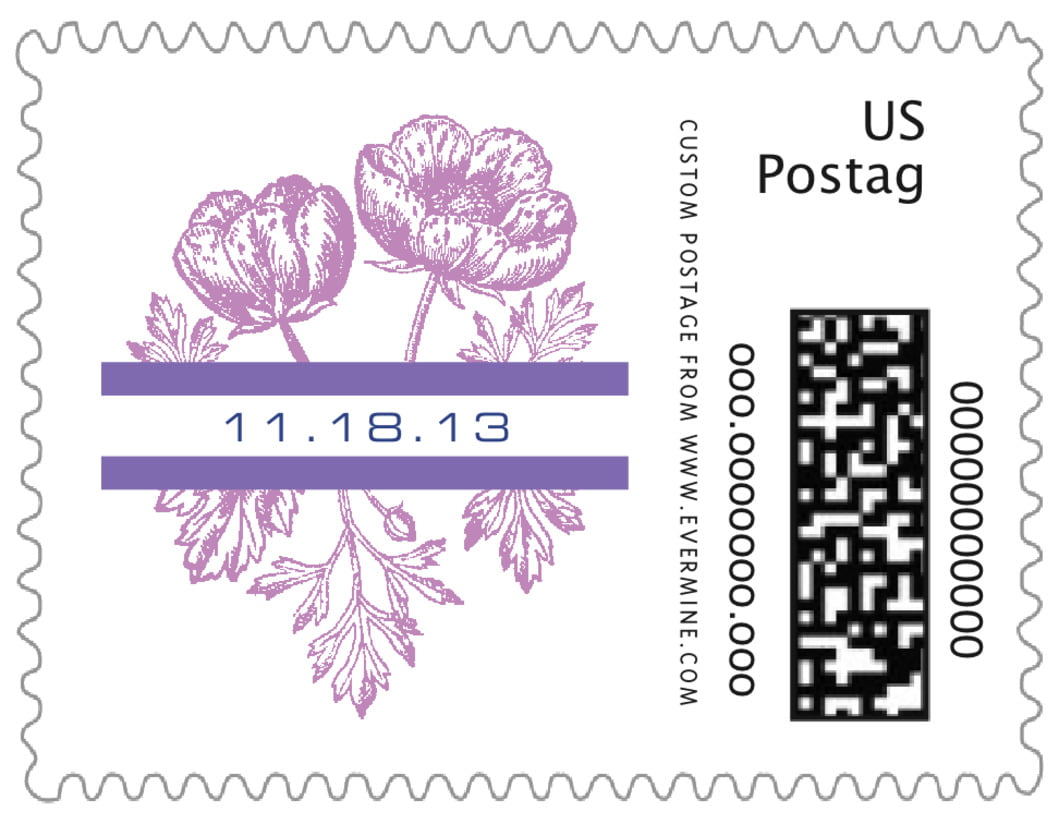 small custom postage stamps - lilac - poppy (set of 20)