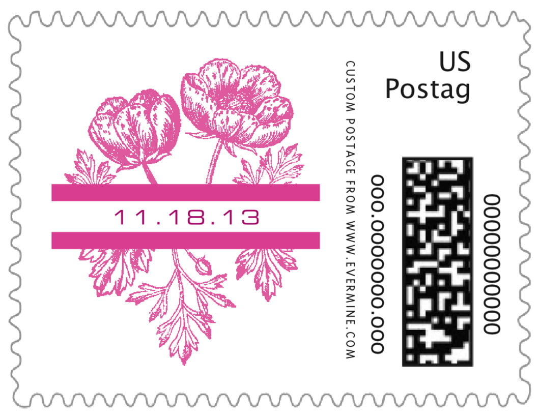 small custom postage stamps - bright pink - poppy (set of 20)