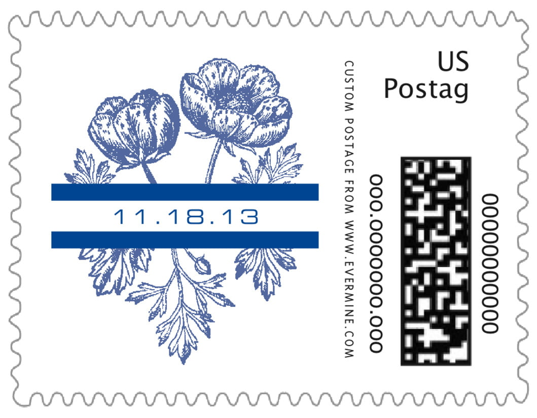 small custom postage stamps - deep blue - poppy (set of 20)