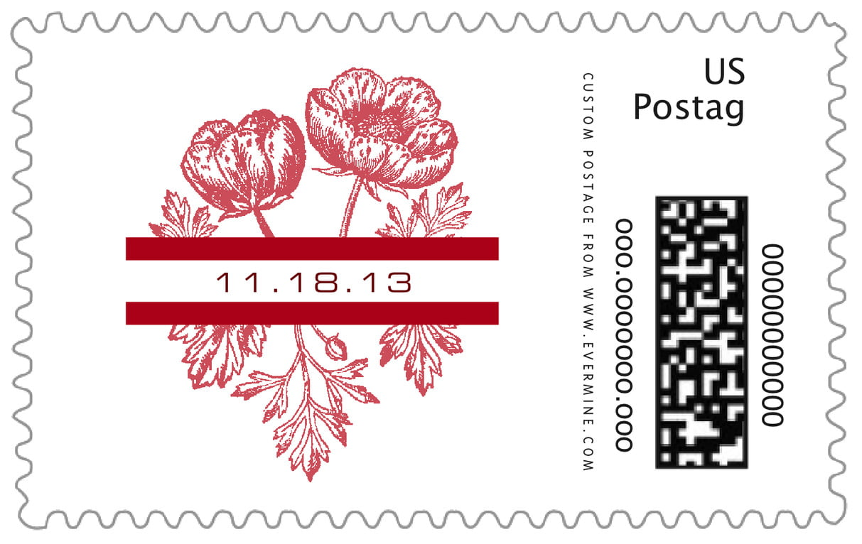 custom large postage stamps - deep red - poppy (set of 20)