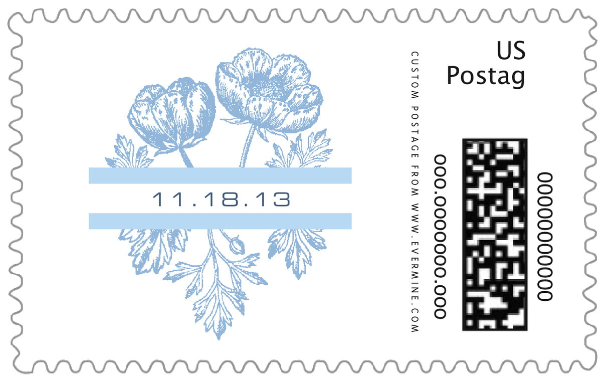 custom large postage stamps - blue - poppy (set of 20)