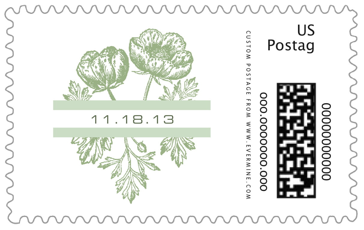 custom large postage stamps - sage - poppy (set of 20)
