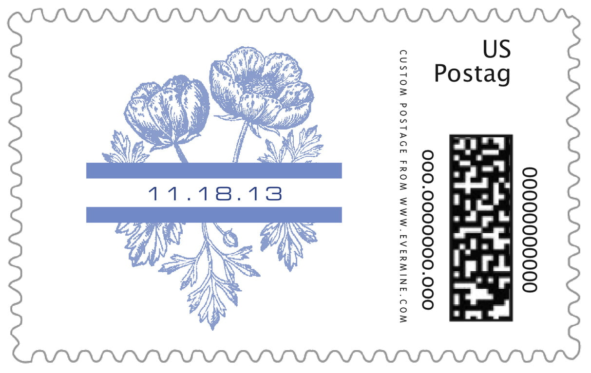 custom large postage stamps - periwinkle - poppy (set of 20)