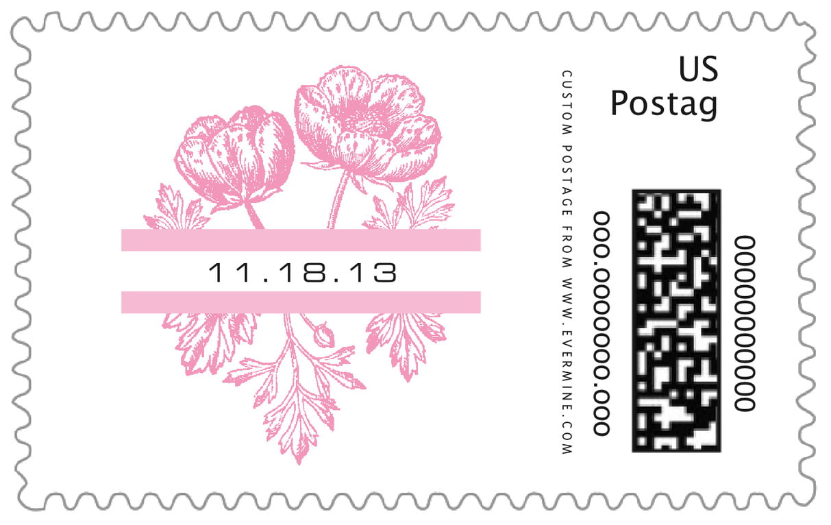 custom large postage stamps - pale pink - poppy (set of 20)