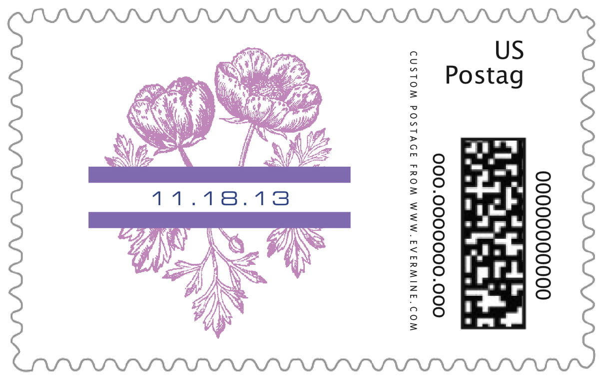 custom large postage stamps - lilac - poppy (set of 20)