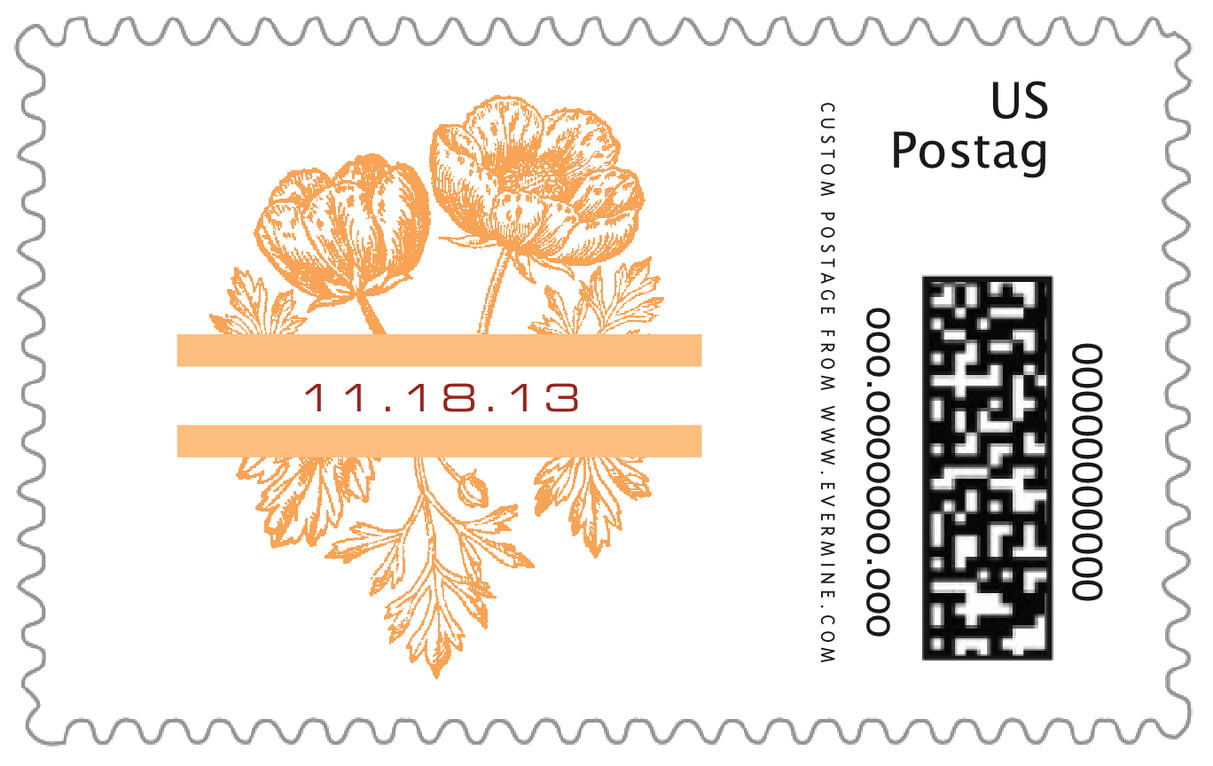 custom large postage stamps - tangerine - poppy (set of 20)