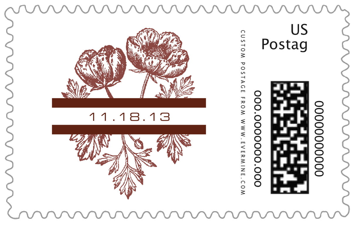 custom large postage stamps - chocolate - poppy (set of 20)