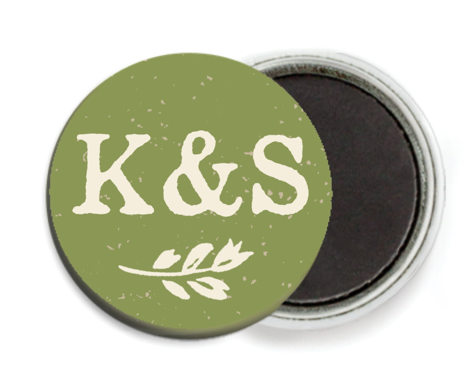 custom button magnets - green - rustic bistro (set of 6)