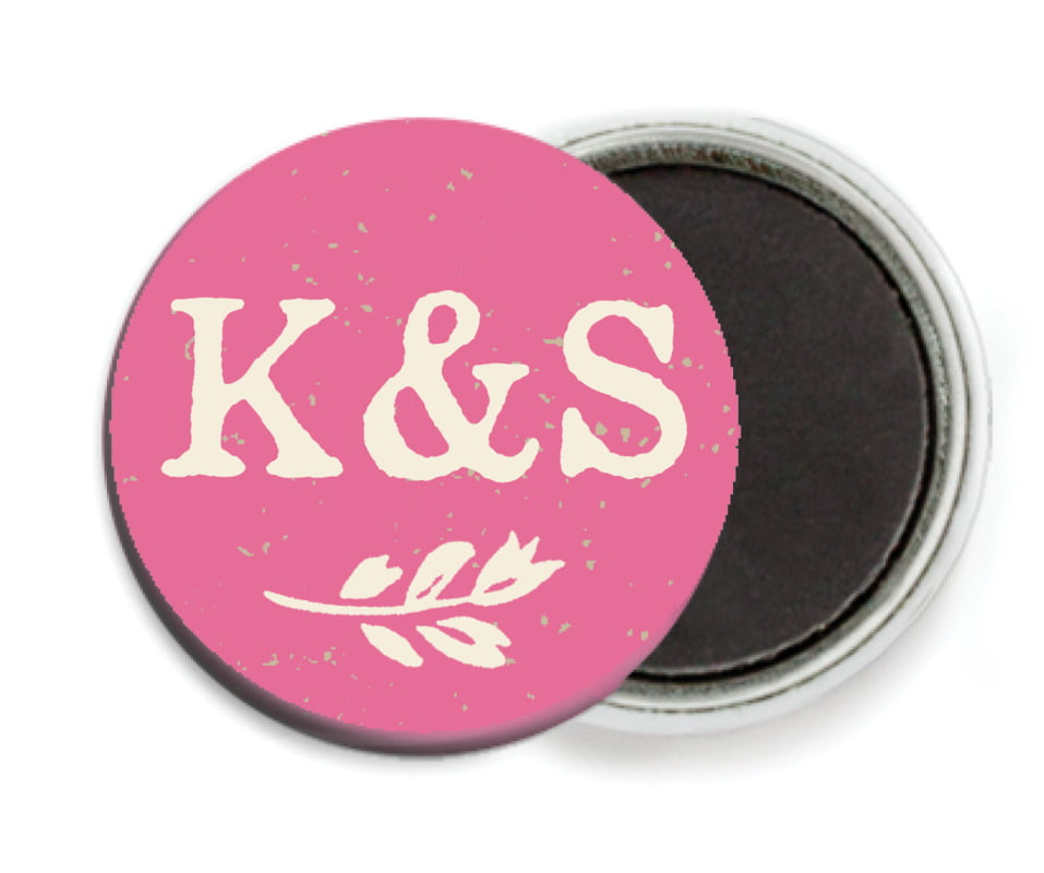 custom button magnets - deep pink - rustic bistro (set of 6)