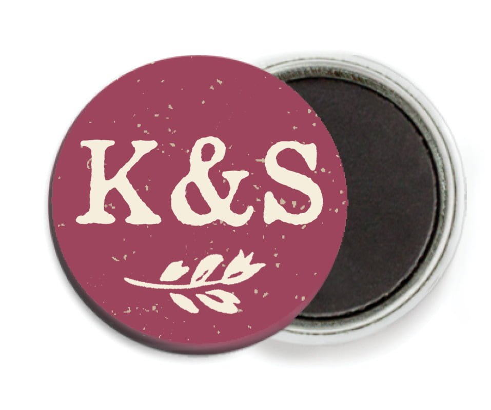 custom button magnets - burgundy - rustic bistro (set of 6)