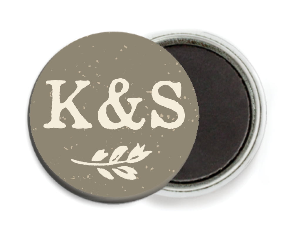 custom button magnets - warm grey - rustic bistro (set of 6)