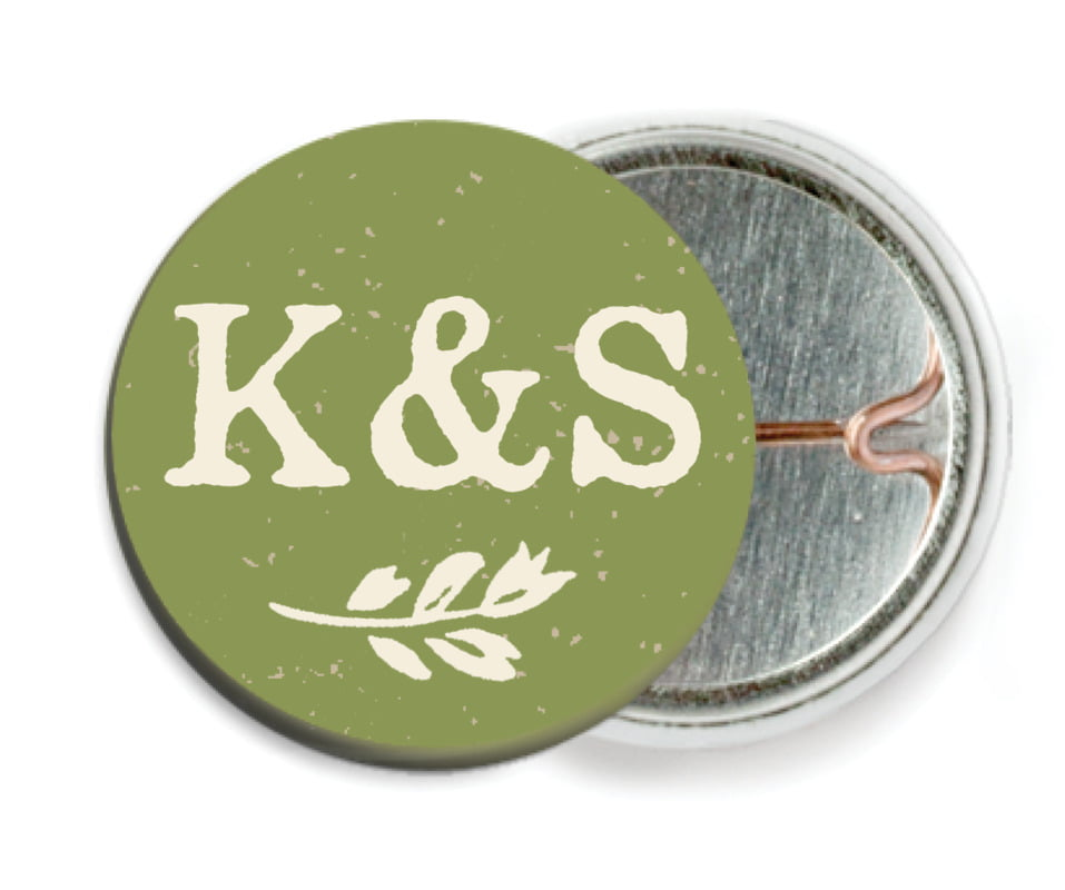 custom pin back buttons - green - rustic bistro (set of 6)