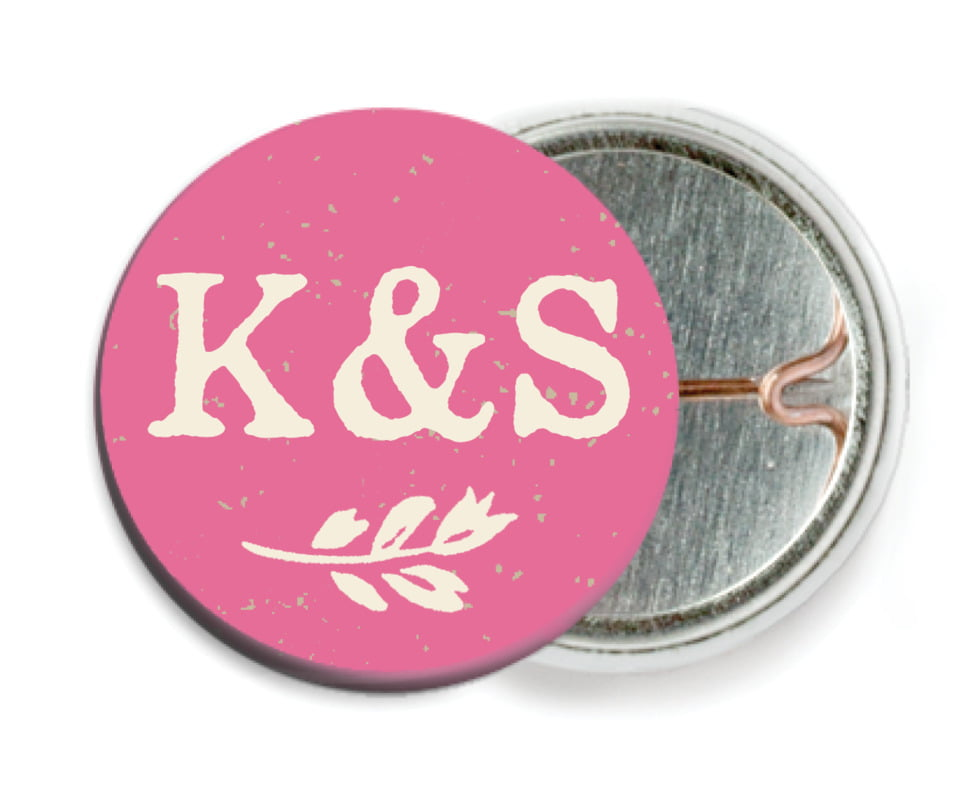 custom pin back buttons - deep pink - rustic bistro (set of 6)