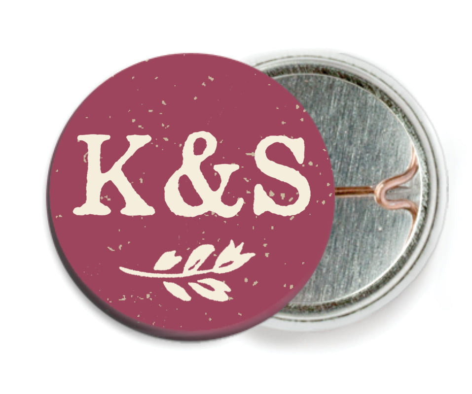 custom pin back buttons - burgundy - rustic bistro (set of 6)