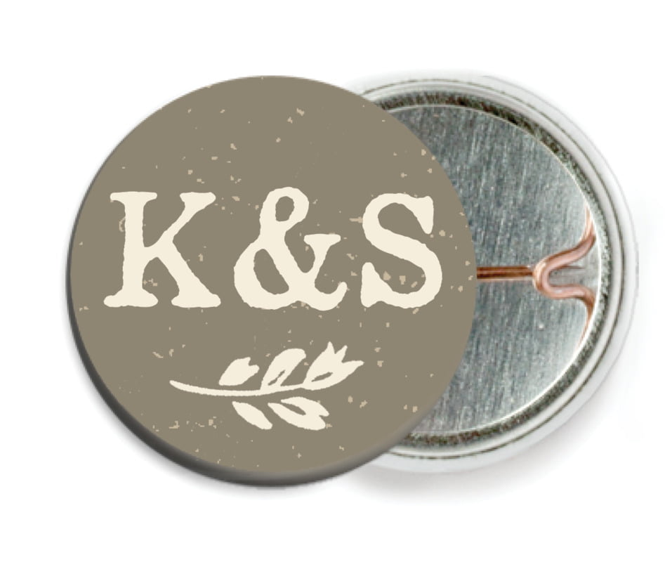custom pin back buttons - warm grey - rustic bistro (set of 6)