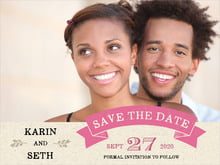 custom save-the-date cards - deep pink - rustic bistro (set of 10)