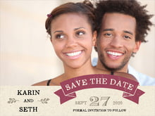 custom save-the-date cards - burgundy - rustic bistro (set of 10)