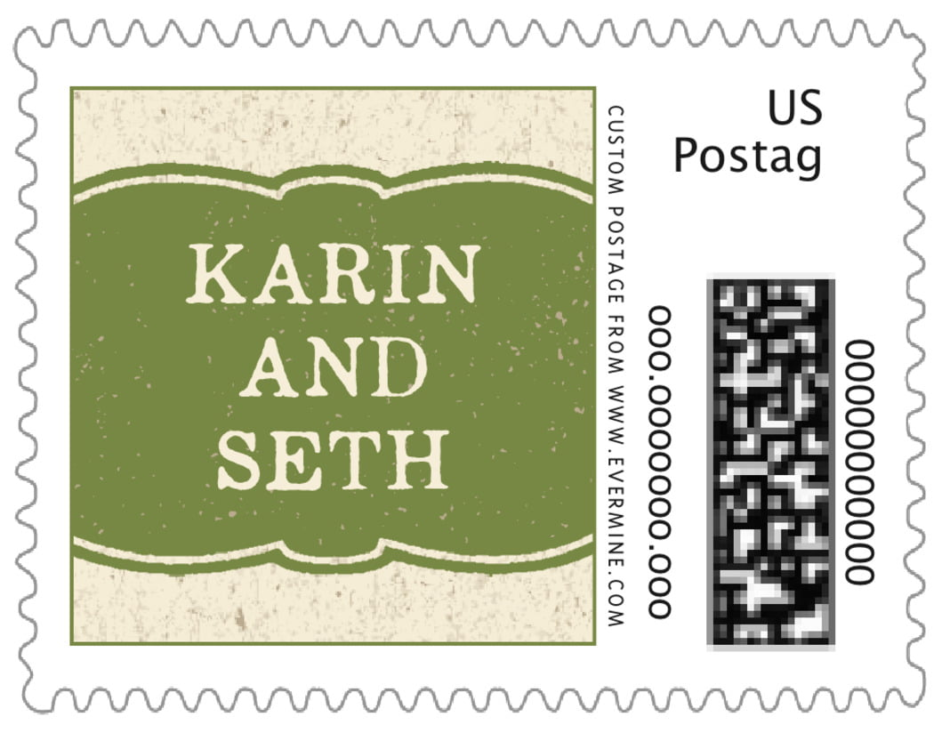 small custom postage stamps - green - rustic bistro (set of 20)