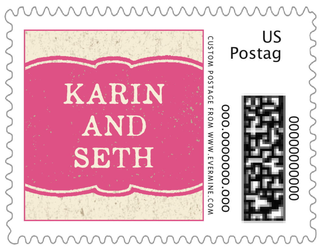 small custom postage stamps - deep pink - rustic bistro (set of 20)