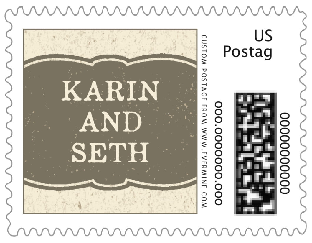 small custom postage stamps - warm grey - rustic bistro (set of 20)