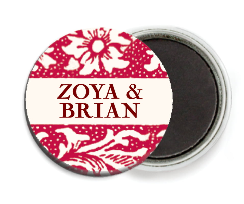 custom button magnets - deep red - rococo spring (set of 6)