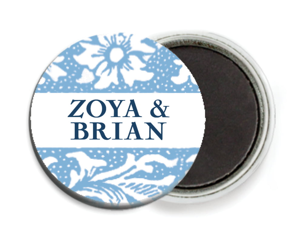 custom button magnets - blue - rococo spring (set of 6)