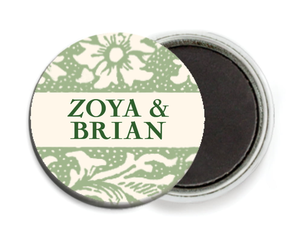 custom button magnets - sage - rococo spring (set of 6)