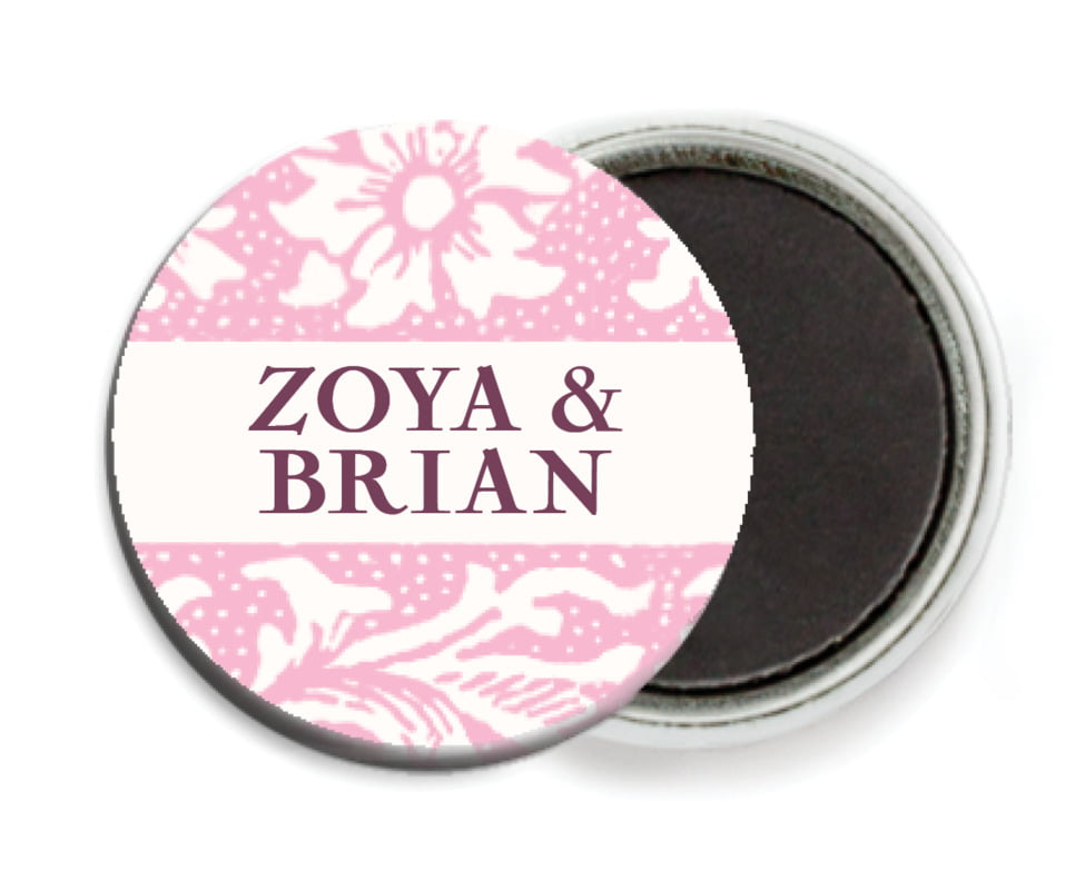 custom button magnets - pale pink - rococo spring (set of 6)