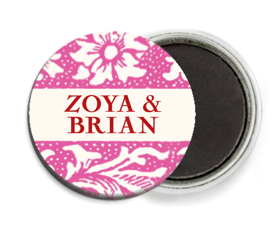 custom button magnets - bright pink - rococo spring (set of 6)