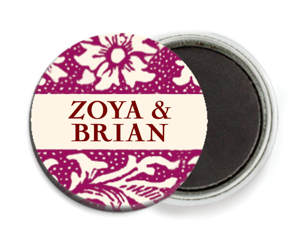 custom button magnets - burgundy - rococo spring (set of 6)