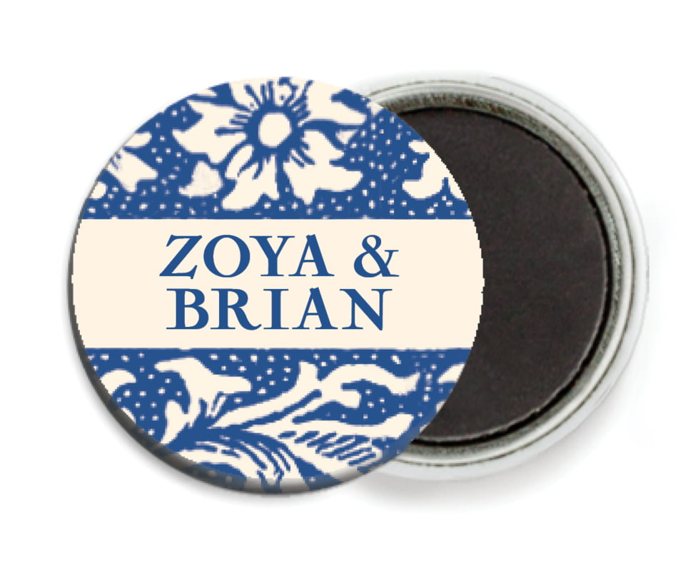 custom button magnets - deep blue - rococo spring (set of 6)