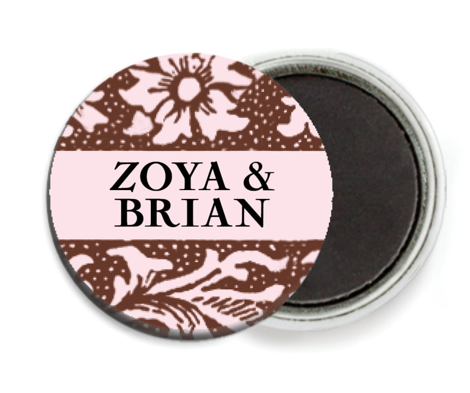 custom button magnets - cocoa & pink - rococo spring (set of 6)
