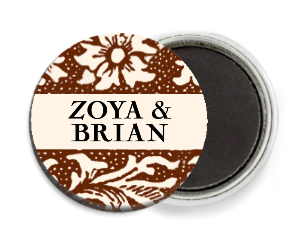 custom button magnets - chocolate - rococo spring (set of 6)