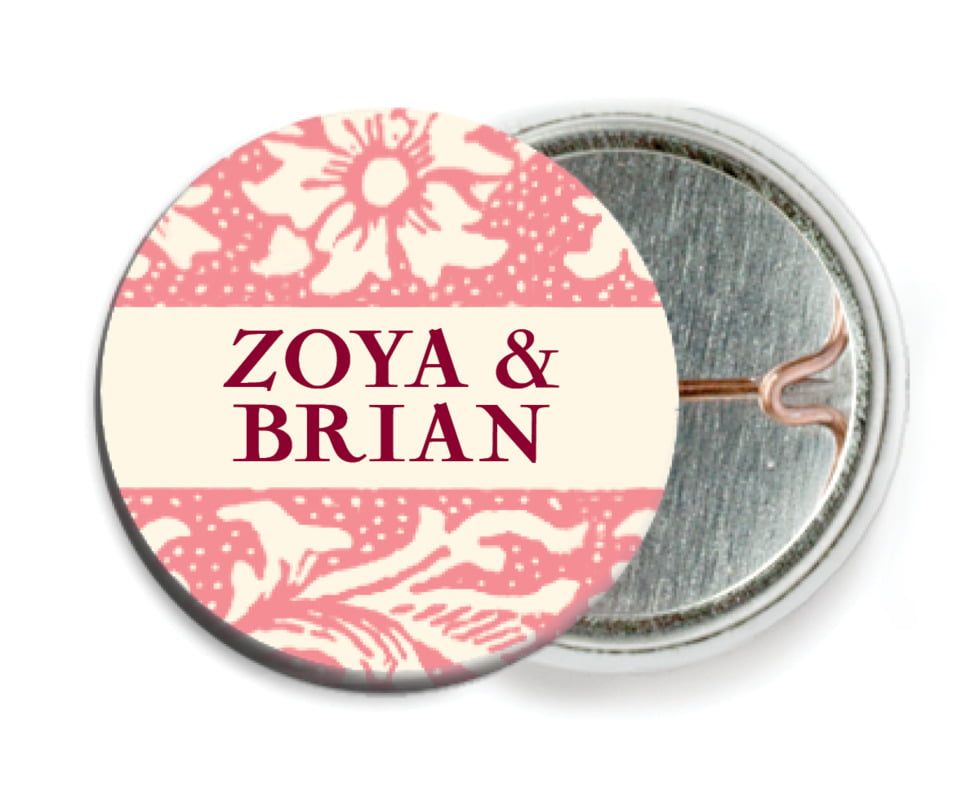 custom pin back buttons - grapefruit - rococo spring (set of 6)