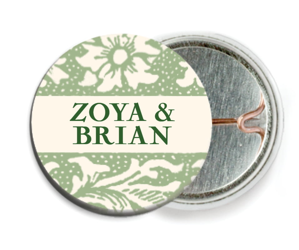 custom pin back buttons - sage - rococo spring (set of 6)