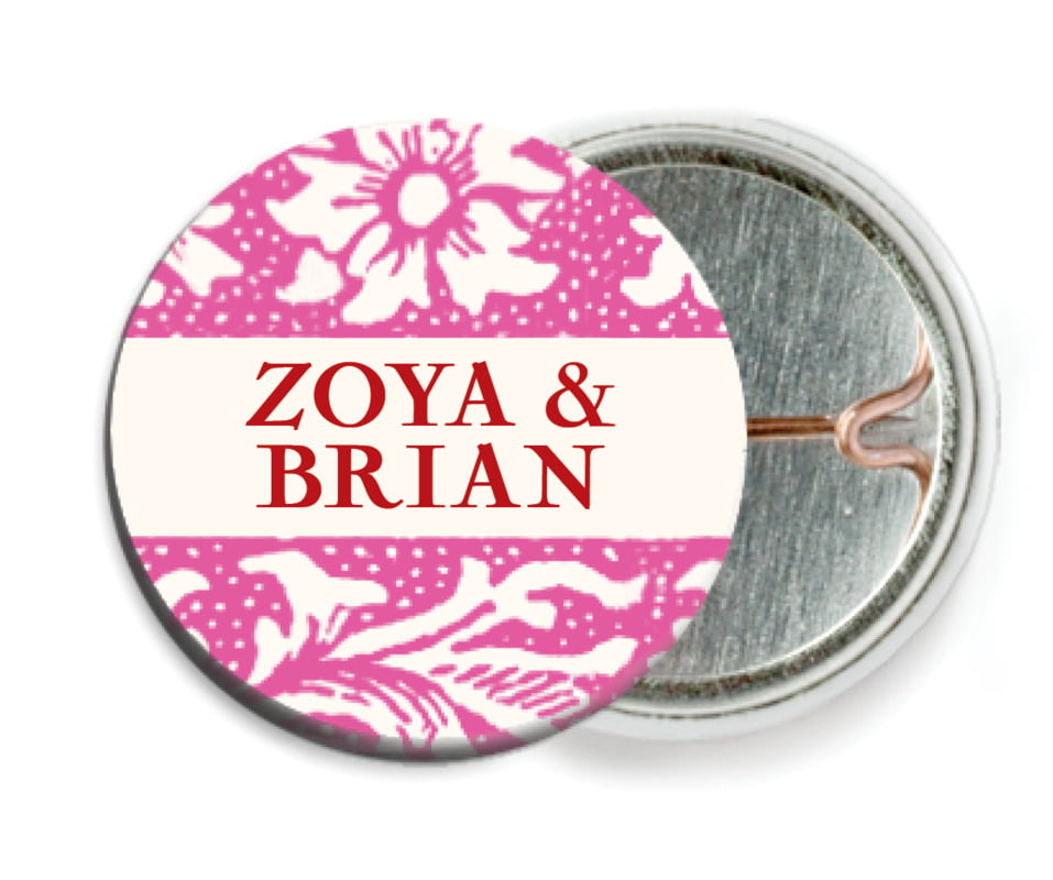 custom pin back buttons - bright pink - rococo spring (set of 6)