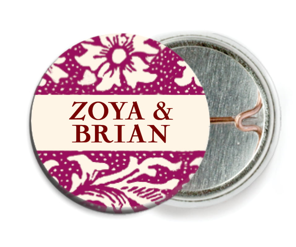 custom pin back buttons - burgundy - rococo spring (set of 6)